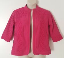 Tanjay Dark Pink Floral Embroidered 3/4 Sleeve Open Front Jacket Size 14