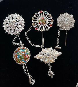 Brand New 5 Silver multicolour stones Hijab Pin Brooche. Hijjab/Scarf/hat pins