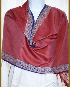 Banaras Silk Red Color Purple Border Paisley Floral Design Shawl, Wrap, Stole