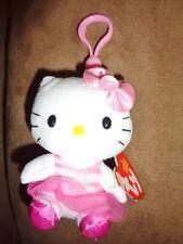 """Hello Kitty Ballerina clip-on mini 3"""" Ty Beanie Baby Stuffed Plush Pink TuTu"""
