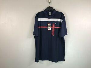 Men's Callaway Short Sleeve Opti Dri Polo Striped Golf Shirt-Size XL- Navy Blue