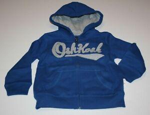 New OshKosh Boys 12 year Gray Logo Blue Hoodie Full Zip Up Sweatshirt Top