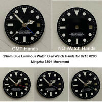 29mm Blue Luminous Watch Dial Watch Hands for 8215 8200 Mingzhu 3804 Movement