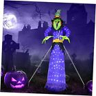 10FT Halloween Inflatable Witch with 248LT Built-in Cool White LED Lights,