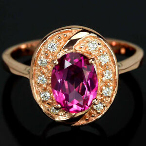 GENUINE AAA PINK TOPAZ OVAL & WHITE CZ STERLING 925 SILVER HALO RING SIZE 6.75
