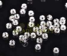50pcs 4mm Rondelle Silver Plated Crystal Rhinestone Jewelry Findings Silver