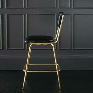 Diner Bar Stool 67 Black Leather Seat with Bronze Base 95 x 50 x 43 cm Kitchen