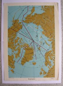 Wall Map Arctic Nordpolargebiet Artic North Pole 64x92 Vintage ~ 1957