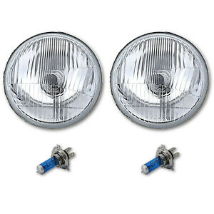 "5-3/4"" Stock H4 Halogen White Light Bulb 60W High Beam Headlight Headlamp Pair"