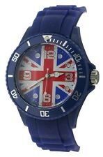 Ladies/ Girls/ Youth / Teen / Fashion Union Jack Watch Blue Silicone/Rubber12C