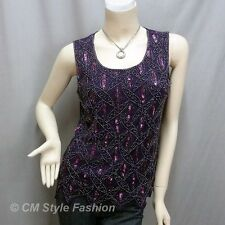 Peacock Sequin Beaded Embroidered Tank Blouse Top Purple S~M