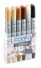 Copic Ciao Marker - 12 Pen Skin Tones Set - Refillable With Copic Various Inks
