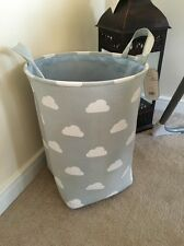 Boys Off Grey Blue  Nursery Baby Laundry Clothes Toy Hamper Storage Box Tidy Bin