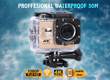 4K 2'' Ultra HD 1080P Sports WiFi Cam Action Camera DV Video Recorder Gold- UK