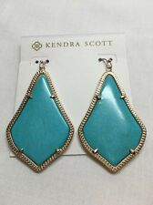NWT KENDRA SCOTT Alexandra Turquoise Blue Gold Plated Large Drop Earrings $65