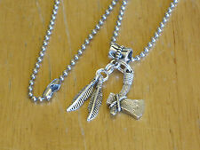 Men's Indian/South Western Pendant Necklace Silver-Tone Tomahawk Axe/Feather
