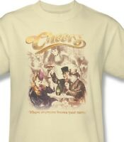 Cheers T-shirt Fee Shipping 1980's retro distressed cotton beige tee cbs1228