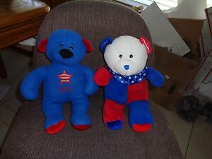 """(2) ADORABLE  USA BEARS Red,White,& Blue.PLUSH 13"""" LOOK"""