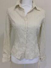 Veronika Maine Button Down Business Corporate Blouse Cream Stripe Size 8