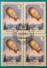 Russia (URSS) 1991 ZEPPELIN Gomma integra, non linguellato blocco di 4 CTO 3 KOP. GA-42 -1987