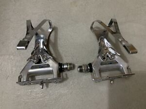 Vintage Shimano 600 Bicycle Pedals with Large Toe Clips Used Nice Shape & Clean