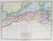 OLD ANTIQUE MAP NORTH AFRICA MAURITANIA NUMIDIA by HALLc1820's ENGRAVING