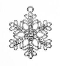 5 LARGE SILVER TONE RHINESTONE FILIGREE SNOWFLAKE 40x32mm~Christmas~Frozen (X82)