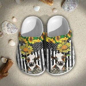 Cow Sunflowers Crocs Clog Shoes