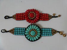 Ethnic Style Bead and Crochet Flower Bracelet with Copper Bells (Red/Turquoise)