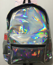 New Fashion Girls Hologram Holographic Leather School Backpack Tote Travel Bag