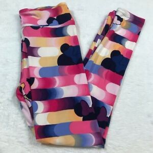 NEW LULAROE LEGGINGS OS ONE SIZE MINNIE MOUSE DISNEY STRIPE CIRCLES PINK BLUE
