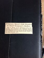 64-4 Ephemera 1915 Article Princess Mary Gift Handed To Falmouth Soldier Mother