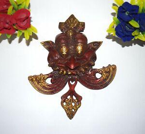 Brass Nazar Battu Door Bell in Red Color Yali Knocker With Floral Design EK590