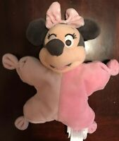 Disney Baby Minnie Mouse Baby Rattle Soft Plush Doll Lovey Toy 9""