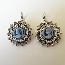 WOMEN'S EARRINGS C. SILVER With Blue Cameo Woman Face White Crystals  299 V
