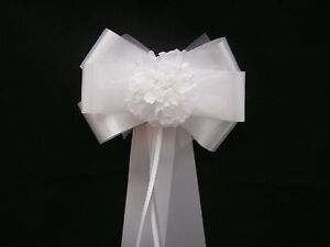 Wedding Pew End Bows  Church Decor Top Table Patterned Tails ALL COLOURS