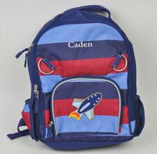 "PBK Pottery Barn Kids CADEN Kid's YOUTH Backpack RED Blue STRIPE Rocket Ship 14"""