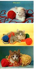 Cute Kitty Cats-Kittens with Balls of Yarn-Vintage Greeting Postcard Lot of 5