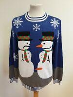 FF203 MENS TIPSY ELVES BLUE GREY WHITE SNOWMAN CHRISTMAS JUMPER UK L EU 52