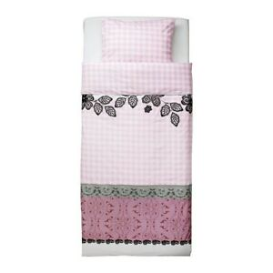 IKEA GIRLS Duvet Quilt Cover with Pillowcase Mystisk Pink White Lace Check Twin