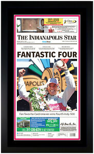 Helio Castroneves Indianapolis 500 Brick Yard 2021 Newspaper Photo Framed 5/30 A