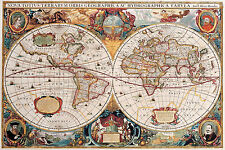 SUPERB ANTIQUE MAP OF THE WORLD CANVAS #5 QUALITY WALL ART PICTURE A1