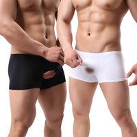 Men Boxer Briefs Open Penis Underwear Sheath Cover Up Pouch Stretch Trunk Shorts
