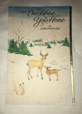 8 Beautiful Parchment Christmas Cards Deer Nature w Gold -From Our Home to Yours