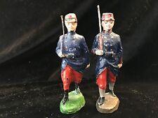 Elastolin 10cm French Infantry.X2. Rare Early Figures. c1920