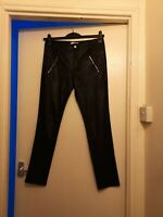 New Ladies Black Leather Immitation Trousers. Size Large. Laura Jo. China.