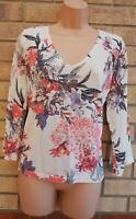 MARKS & SPENCER IVORY WHITE FLORAL PINK KNIT JUMPER BLOUSE T SHIRT TOP TUNIC 16
