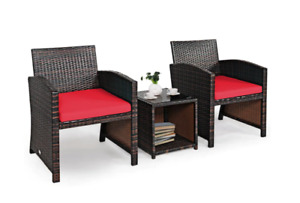 3PCS Patio Rattan Furniture Set Cushioned Conversation Set Sofa Coffee Table Red