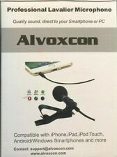 Alvoxcon Professional  Lavalier Microphone - with adapters for Apple/Android