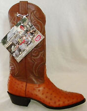 New NOCONA 9 C Cognac Brown Full Quill OSTRICH Made In USA Cowboy Boot OLD STOCK